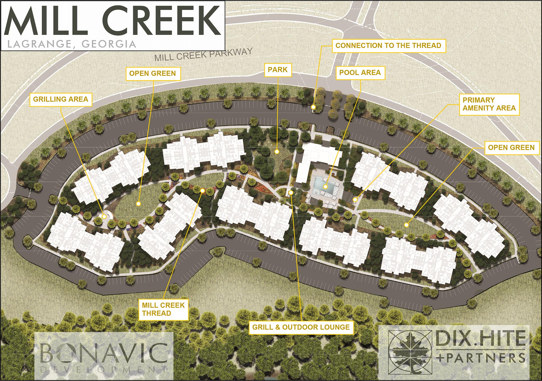 image of the site plan for The Yard on Mill based in Mill Creek, LaGrange, Georgia