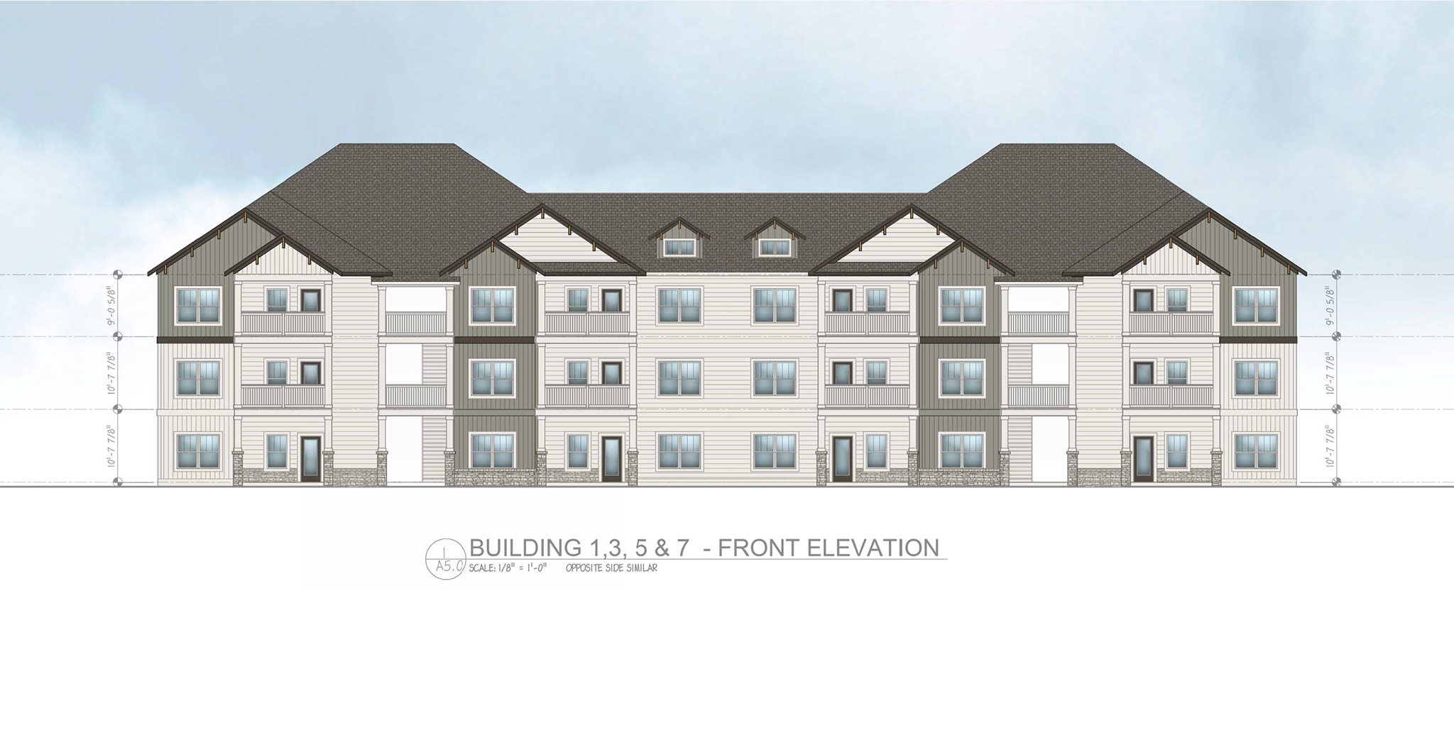 image of diagram of an apartment complex with height measurements